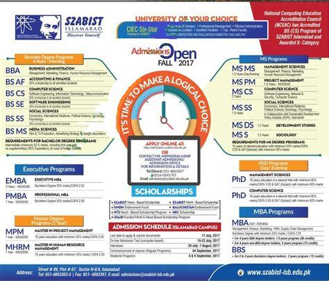 szabist islamabad karachi admission open fall  eligibility  date