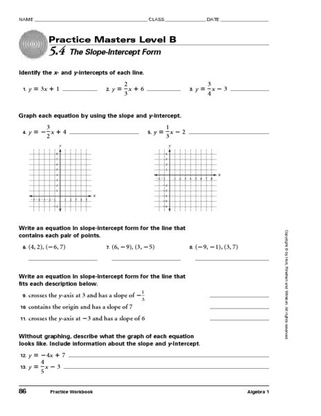slope y intercept form worksheet slope intercept form worksheet worksheets releaseboard