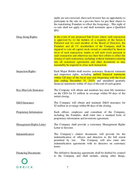 Sle Term Sheet Pro Rata Rights Agreement Template