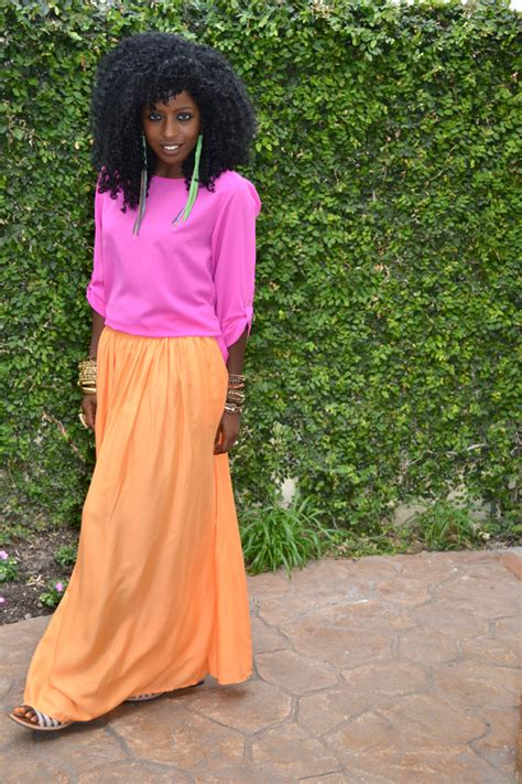 Rl Flowy Maxi style pantry neon pink silk blouse neon orange maxi skirt