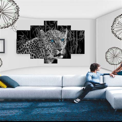 5 panel leopard cheetah modern print wall painting