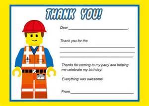 lego emmett thank you card