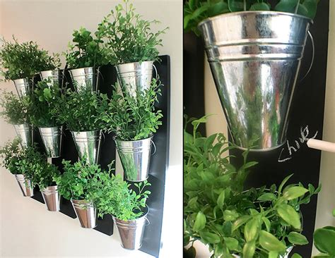 vertical indoor wall planter with galvanized steel pots