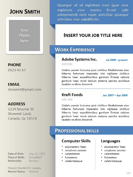 template cv word menarik free clean resume cv template for powerpoint