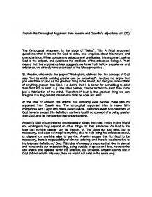 Ontological Argument Anselm Essay by Ontological Argument Essay Can