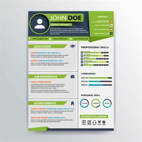 cv format vector green professional resume template vector free download