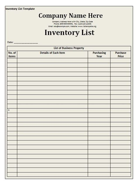 inventory list template  word templates