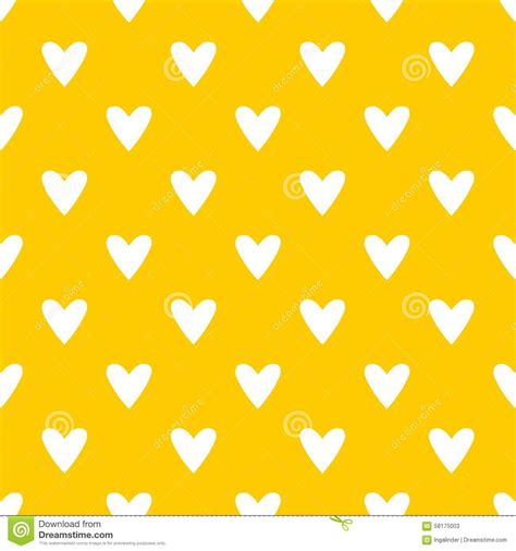 Tile Cute Vector Pattern With White Hearts On Yellow ... Yellow Hearts Wallpaper
