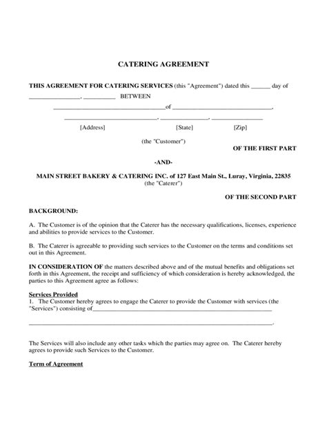 catering contract template   templates   word excel