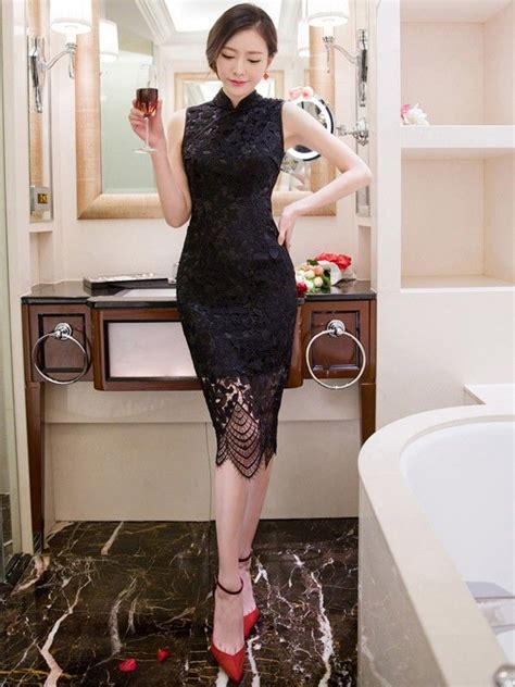 Modern Fashion Cheongsam Black black lace sleeveless qipao cheongsam dress qipao