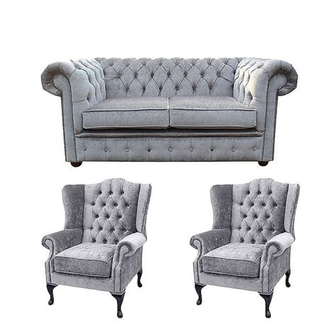 Chesterfield Sofa Suite Chesterfield 2 Seater Sofa 2 X Mallory Wing Chair Harmony Dusk Velvet Sofa Suite Offer