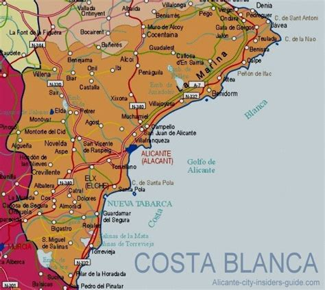 map of alicante area welcome to costa blanca and maraiso