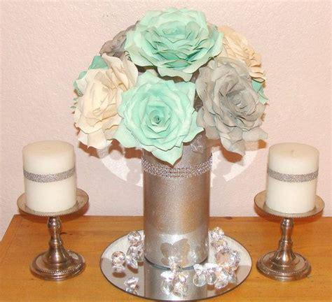 silver shimmering floral arrangement mint green wedding