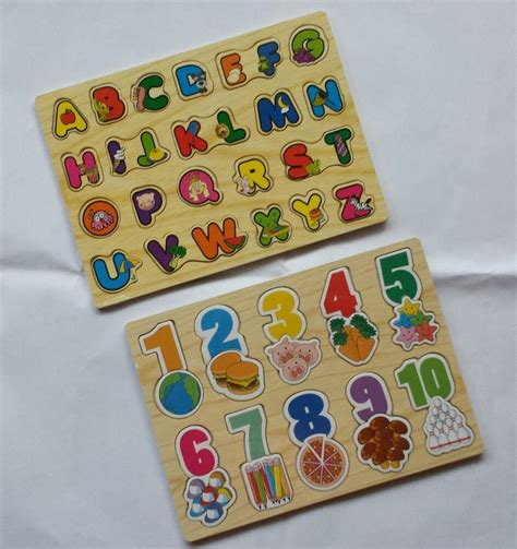 children kids alphabet abc numbers  wooden jigsaw