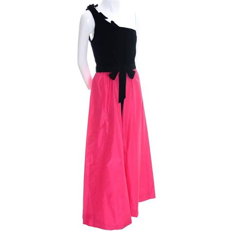 Eugene Dress 1980s eugene sarasota florida vintage dress evening gown pink black for sale at 1stdibs