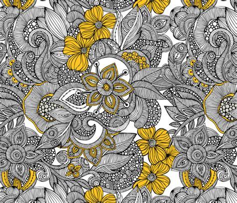 Stiker Pengiriman Shop Black Doodle doodles black and yellow fabric valentinaharper spoonflower