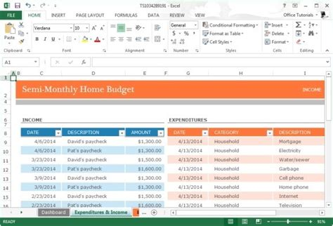 monthly home budget template for microsoft excel 2013