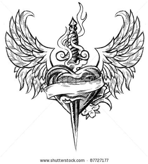 winged heart and dagger tattoo design inspiration tattoomagz