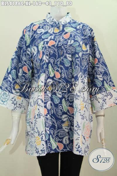 Blus Batik Biru Xl blus batik biru dua motif kombinasi warna putih pakaian