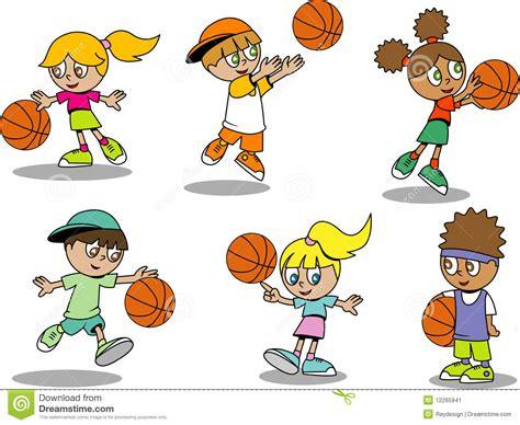Nette Basketball Kinder Vektor Abbildung Bild Von