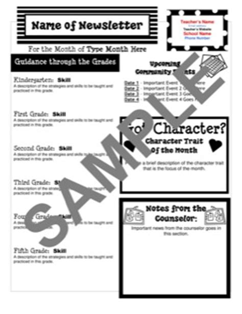 Templates From Teacher S Clubhouse Free Newsletter Templates For School Counselors