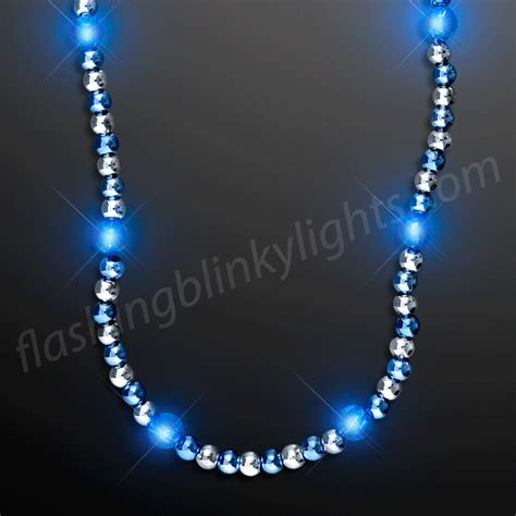 light up necklaces light up beaded necklace blue silver by
