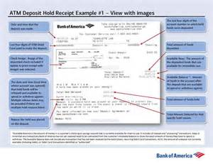 Certified Letter Bank America example of banking center deposit receipt information