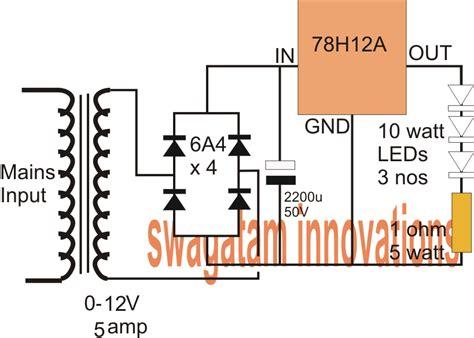5 watt led driver circuit diagram 12v 5 fixed voltage regulator ic 78h12a datasheet
