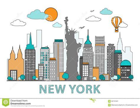 art design kalender new york thin line flat design of new york city modern new york