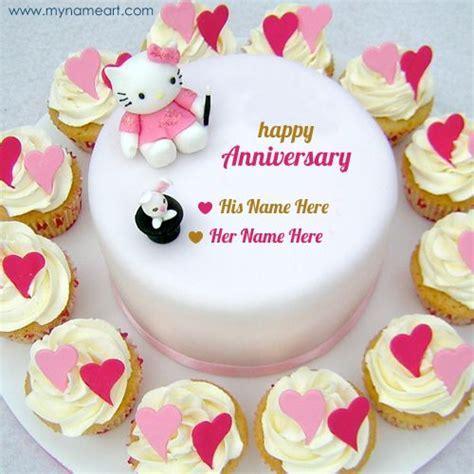 Happy Anniversary Couple Kitty Cake Name Pics   Nombox