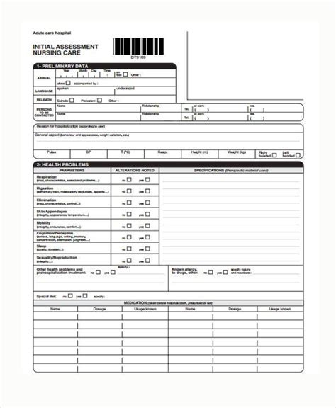 nursing assessment form 7 nursing assessment form sles free sle exle