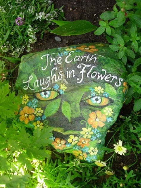 The Earth Laughs In Flowers Hand Painted Garden Rock Painted Rocks For Garden