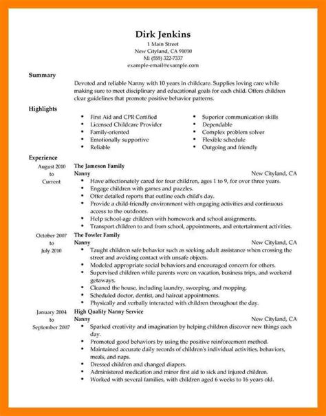 Job Gateway Resume by Sample Nanny Resumes Resume Cv Cover Letter Sample Nanny