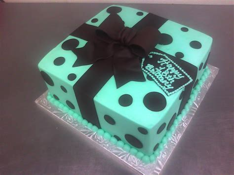 Custom Made Cakes by Teal Brown Polka Dotted Gift Box Cake Made Custom