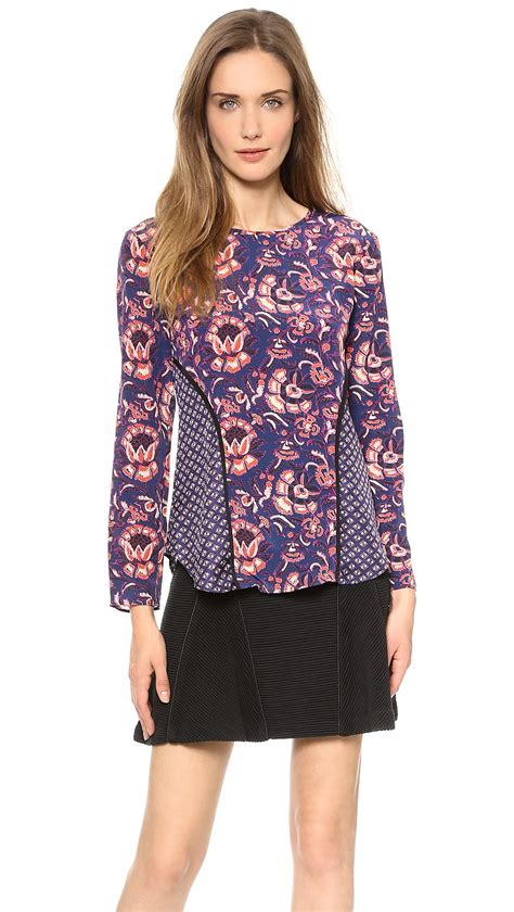 Ponco Rajut Batik Top Import beard floral batik print seamed sleeve top plum multi in purple lyst