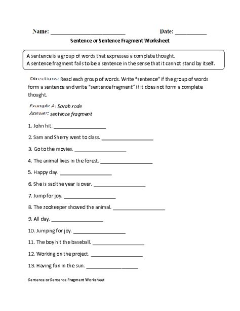 Free Sentence Fragment Worksheets by 15 Best Images Of Fragment Practice Worksheet Fragment