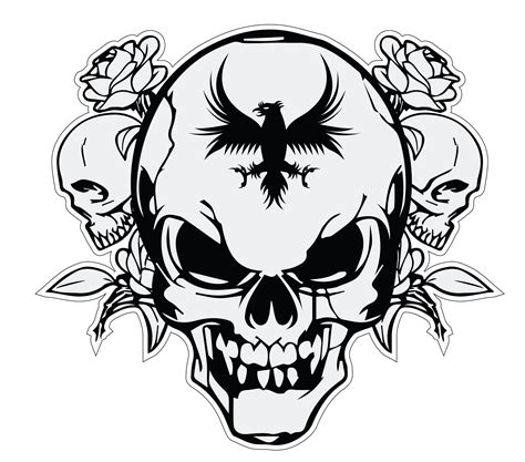 Kaos Harley Davidson Logo White skull vector logo swart