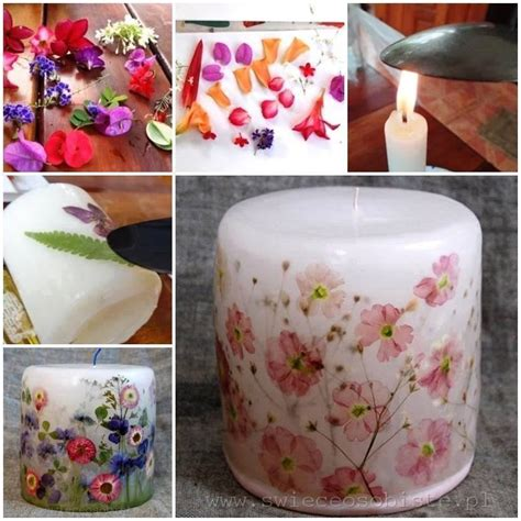 Decoupage Candles - dried flower candles thewhoot
