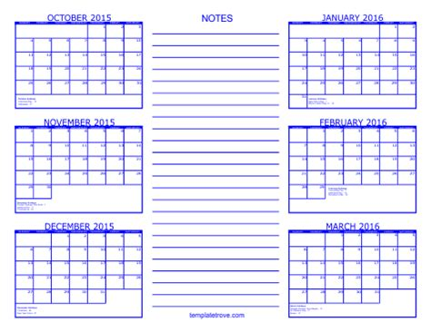 free 6 month calendar template 8 best images of printable calendar october 2015 march
