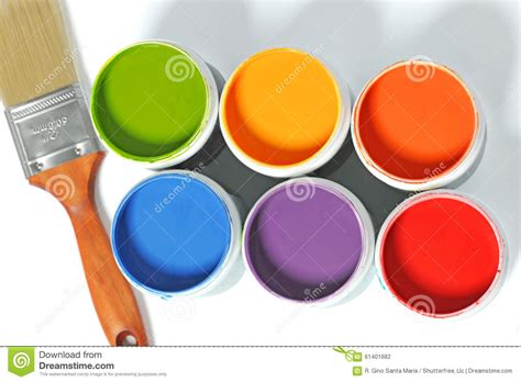 cans of paint with paintbrush stock photo image 61401682