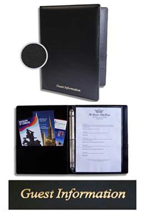 Hotel Room Information Folders by Guest Room Information Folders Faux Leather Ring