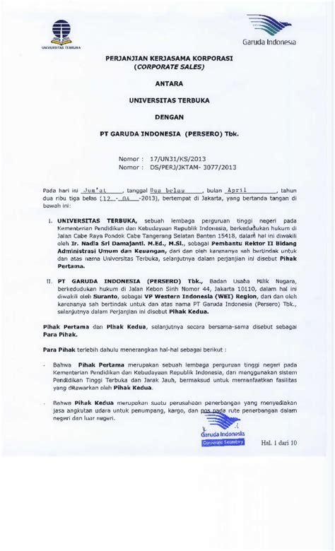 perjanjian kerja sama antara universitas terbuka dengan pt