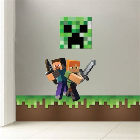 mario schlafzimmerdekor minecraft grass wall decal room decals