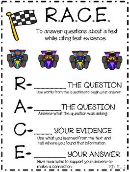 anchor chart for teaching race  restate, answer, cite