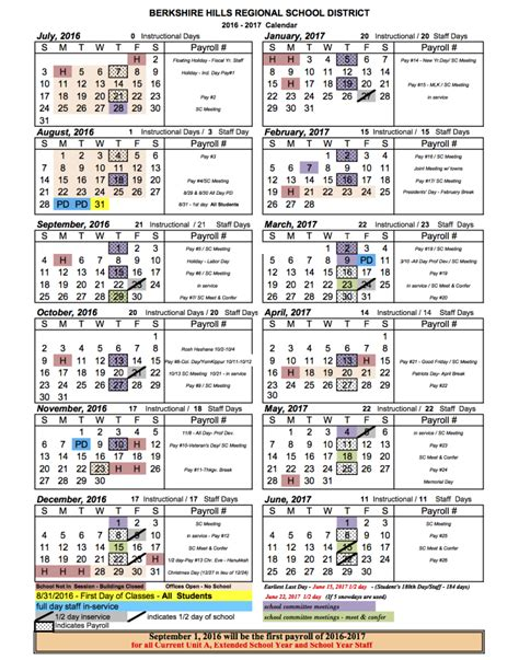 School District Calendar 2016 Berkshire Regional School District School Calendar