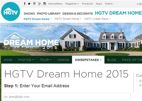 Hdtv Home Giveaway - hgtv dream home 2015 sweepstakes sweeps maniac