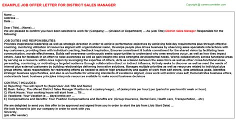 Offer Letter Sle For Store Manager Sales Manager Offer Letters