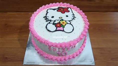 dekorasi kue ulang  simple tart  kitty cake