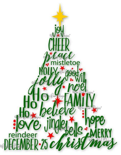 christmas tree decorated whith words tree svg file pdf dxf jpg png by oneoakdesigns