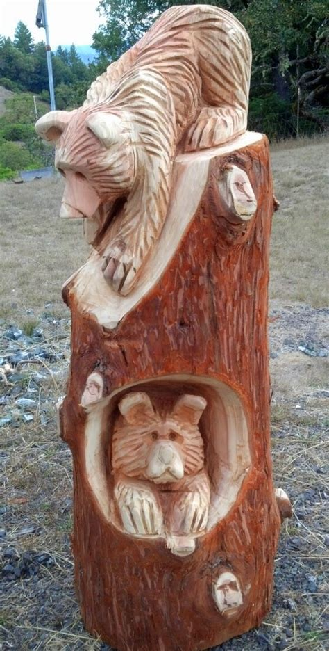 Chainsaw Carved Bench Bear Carvings